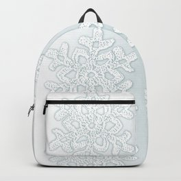 Crocheted Snowflake Ornaments on teal mist Backpack