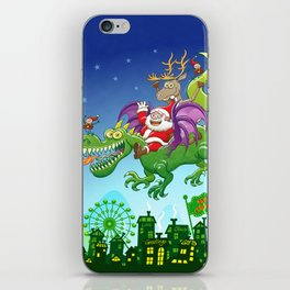 Santa changed his reindeer for a dragon iPhone Skin