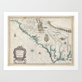 Vintage Map of The Carolinas (1676) Art Print