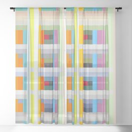 colorful geometric pattern design Negret Sheer Curtain