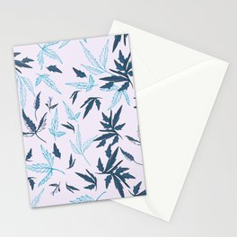 Floral rustic vector pattern with leaves and plants in blue color  Stationery Cards