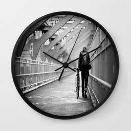 One Way Life , Traveler , Biker , NYC , Williamsburg Bridge  Wall Clock