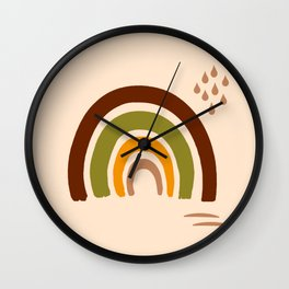 Retro 70s naive rainbow brown, orange, cream Wall Clock