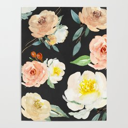 Watercolor Flower Collage on Chalkboard Poster