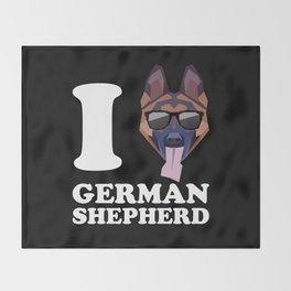 I Love German Shepherd modern v2 Throw Blanket