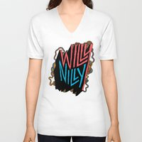 willy wonka V-neck T-shirts featuring Willy Nilly by Chris Piascik