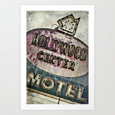 Grunge Hollywood Motel Sign Art Print
