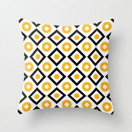 Sun yellow pattern of rhombuses and circles Throw Pillow