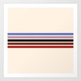 Colorful Retro Stripes Beige II Art Print