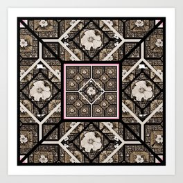 Cherokee Rose Pattern 1 brown and pink Art Print