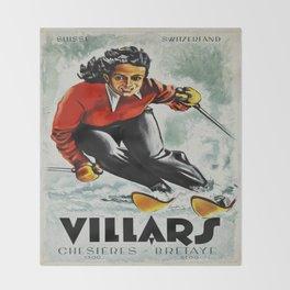 Vintage Villars Switzerland Ski Travel Poster Throw Blanket