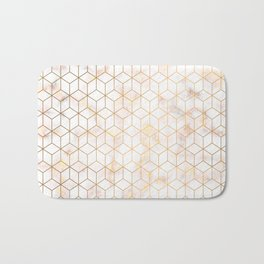 Geometric Gold Pattern on Gold Marble Bath Mat