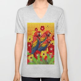 GREEN TROPICAL YELLOW MACAWS & RED YELLOW HIBISCUS Unisex V-Neck