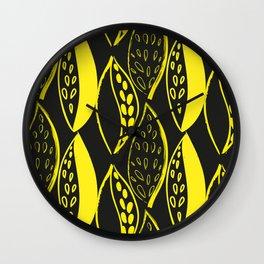 yellow Scandinavian style ink brush foliage on a black background Wall Clock