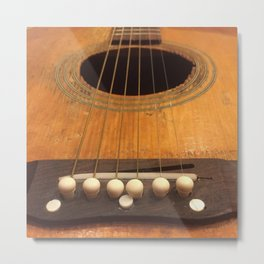 Wooden Acoustic Guitar Metal Print