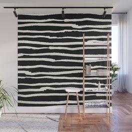 Hand Drawn Stripes on Black Wall Mural