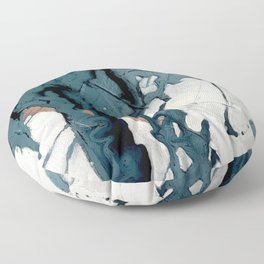 Fortune[4]: A bold, minimal, abstract mixed-media piece in blue and black Floor Pillow