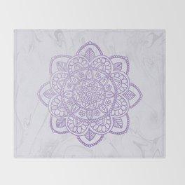 Lavender Mandala on White Marble Throw Blanket
