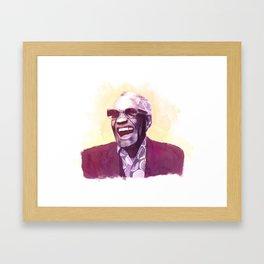 Ray Charles portrait Framed Art Print