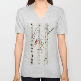 Birch Trees and Cardinal Unisex V-Neck