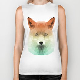 Polygon Fox | Orange & Teal Abstract Triangle Artwork Biker Tank