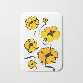 Yellow and Black Flower design Bath Mat