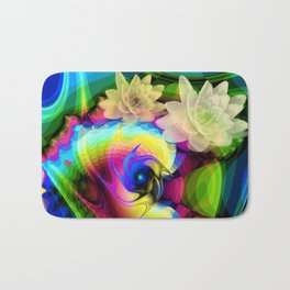 Floating Waterlilies in an Abstract Bath Mat