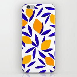 Blue and yellow Lemon Summery Pattern iPhone Skin