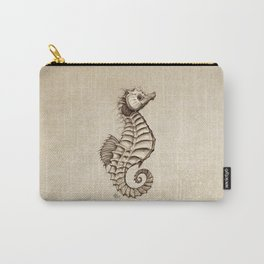 """""""Fantasy Seahorse"""" by Amber Marine ~ (Vintage) ~ Ink Illustration, (Copyright 2016) Carry-All Pouch"""