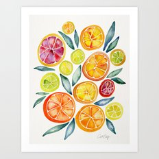 Sliced Citrus Watercolor Art Print