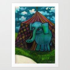 BLUE ELEPHANT.  Art Print
