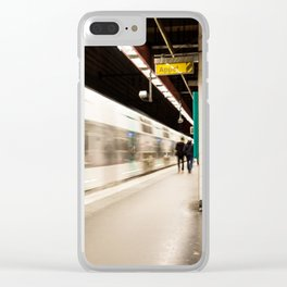 Fast train at the station Clear iPhone Case