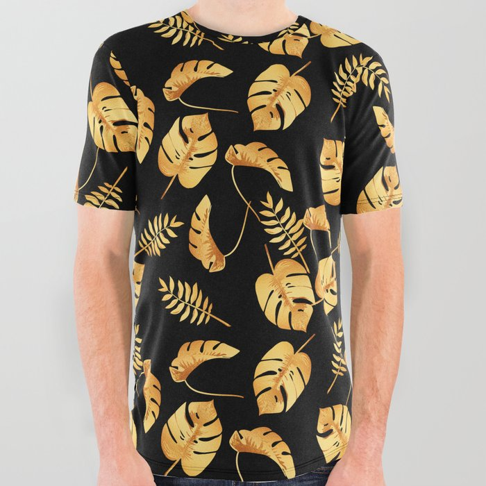 Gold Tropical Leaves Pattern All Over Graphic Tee