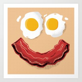Bacon and Eggs Breakfast Smile Art Print