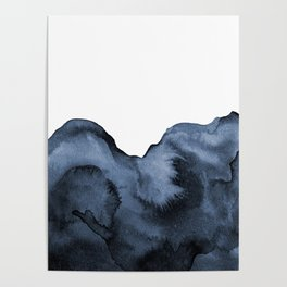 Watercolor Splash in Blue Poster