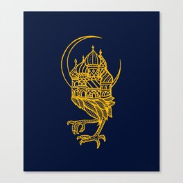 Baba Yaga Blue Gold Canvas Print