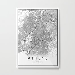 Athens City Map Greece White and Black Metal Print