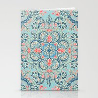 bedding Stationery Cards featuring Gypsy Floral in Red & Blue by micklyn
