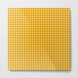 Yellow pattern with white dots Metal Print
