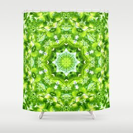 GREEN LEAVES MANDALA Shower Curtain