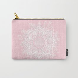 Mandala Bohemian Summer Blush Millennial Pink Floral illustration Carry-All Pouch