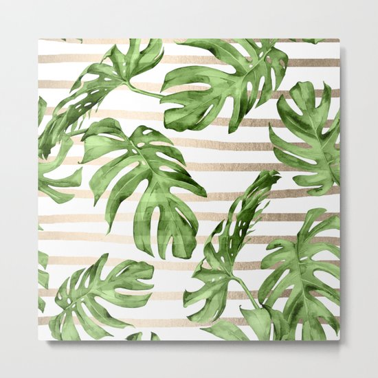 Simply Tropical White Gold Sands Stripes and Palm Leaves Metal Print