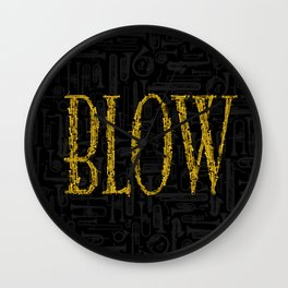 Blow BLACK & GOLD / Horn instruments forming type and background Wall Clock