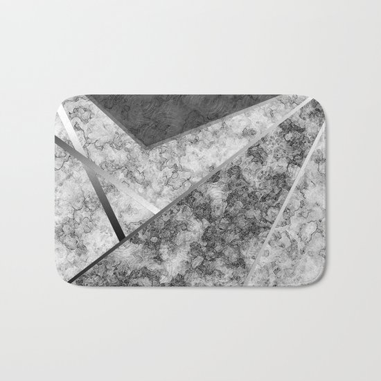 Combined abstract pattern in black and white . Bath Mat
