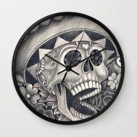 dia de los muertos Wall Clocks featuring Dia de Los Muertos by afzucatti