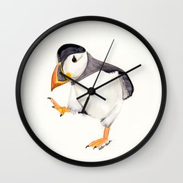 Waddle (Puffin) - animal watercolor painting Wall Clock