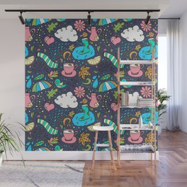 Hand draw autumn doodle pattern. Wall Mural