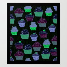Cupcakes Curly Art Print