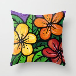 Whimsical Impatien Flowers Throw Pillow