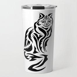 Tribal Cat Design (Lights) Travel Mug